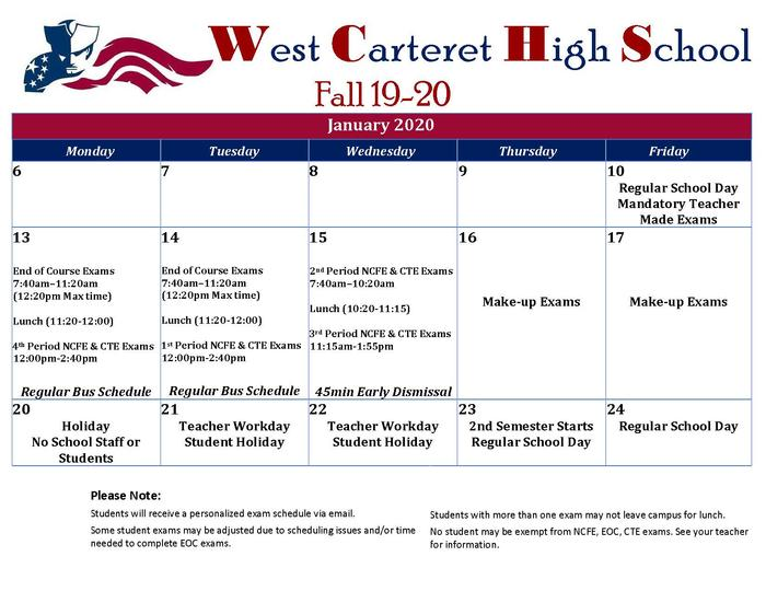 WCHS Fall 2019 Exam Schedule